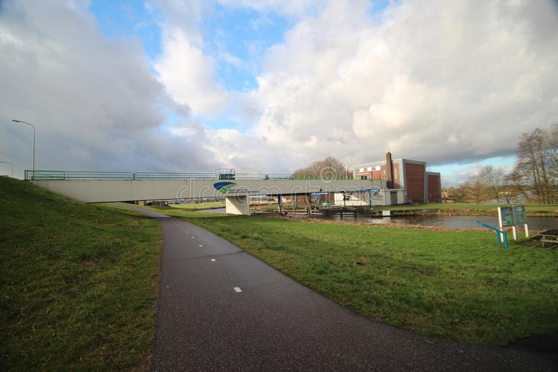Wide angle overview of the Abraham Kroes Gemaal, a water pumping station with double function royalty free stock image
