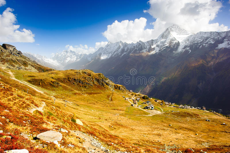 Wide Angle Panorama Of Loetschental Valley Royalty Free Stock Image