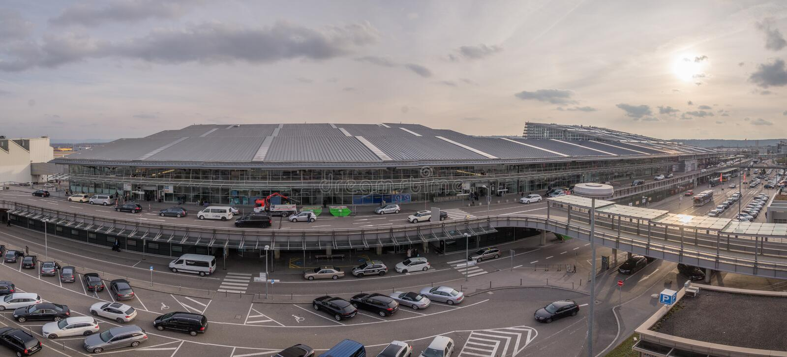 Wide angle panorama of Stuttgart Airport, Germany royalty free stock photo