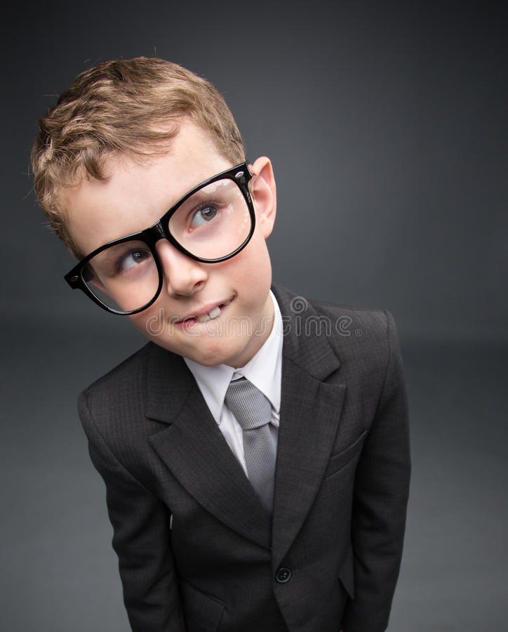 Wide Angle Portrait Of Little Pensive Businessmen Stock Photos