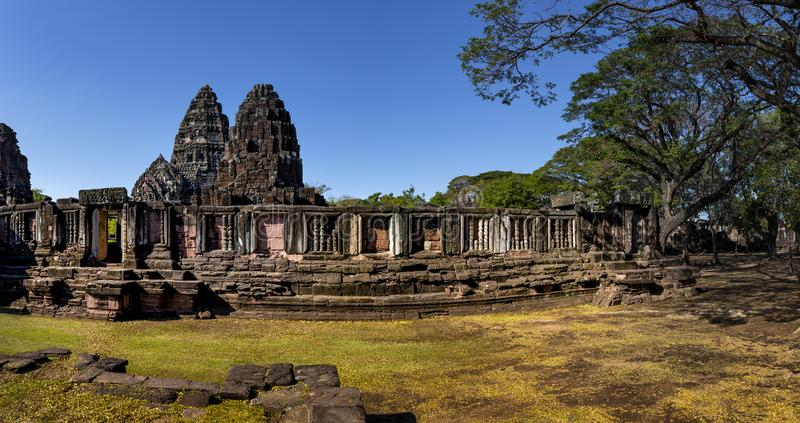 Wide angle of prasat hin phimai korat one of most popular history traveling destinaton in nakornratchasima north eastern thailand royalty free stock photo