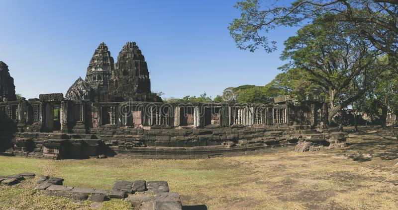 Wide angle of prasat hin phimai korat one of most popular history traveling destinaton in nakornratchasima north eastern thailand stock images