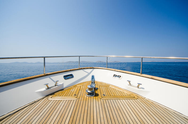 Wide angle shot of front of the yacht in summer time. On Adriatic sea in Croatia royalty free stock image