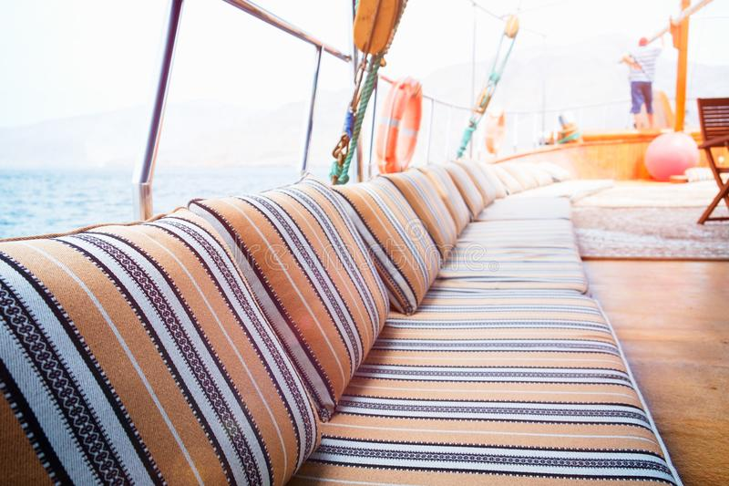 Wide angle shot of front of the yacht in summer time.  royalty free stock images