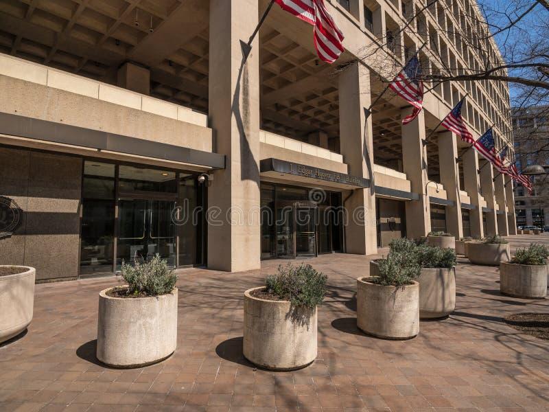 J. Edgar Hoover FBI Building on Pennsylvania Avenue, Washington DC, United States. Wide angle shot of the J.Edgar Hoover FBI Building in Washington D.C stock photos