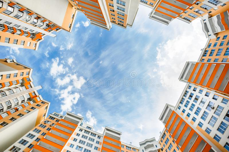 Wide angle shot of new residential buildings. Wide angle shot of new apartments residential buildings exterior royalty free stock image