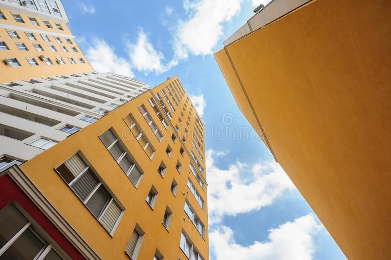 Wide angle shot of new residential buildings. Wide angle shot of new apartments buildings exterior royalty free stock photos
