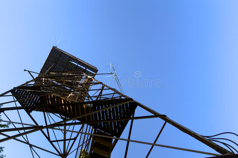 Wide angle shot of old outlook tower in Sweden.  stock image