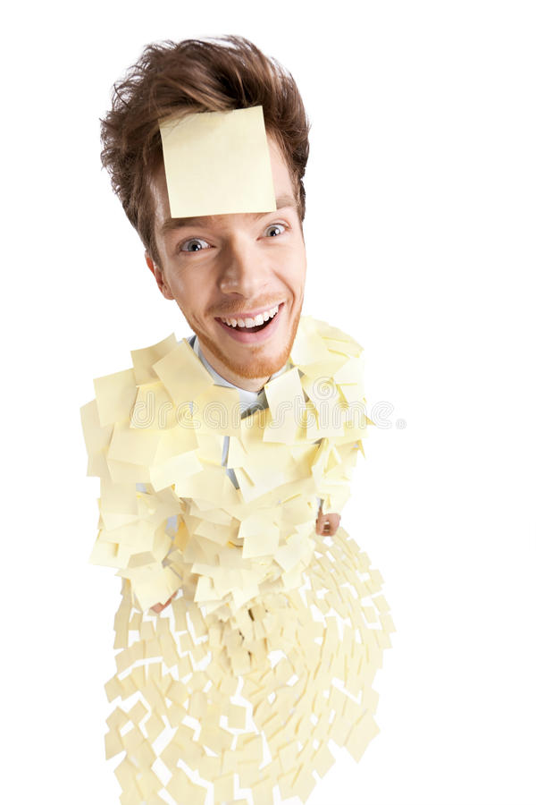 Wide angle shot of young man with a sticky notes