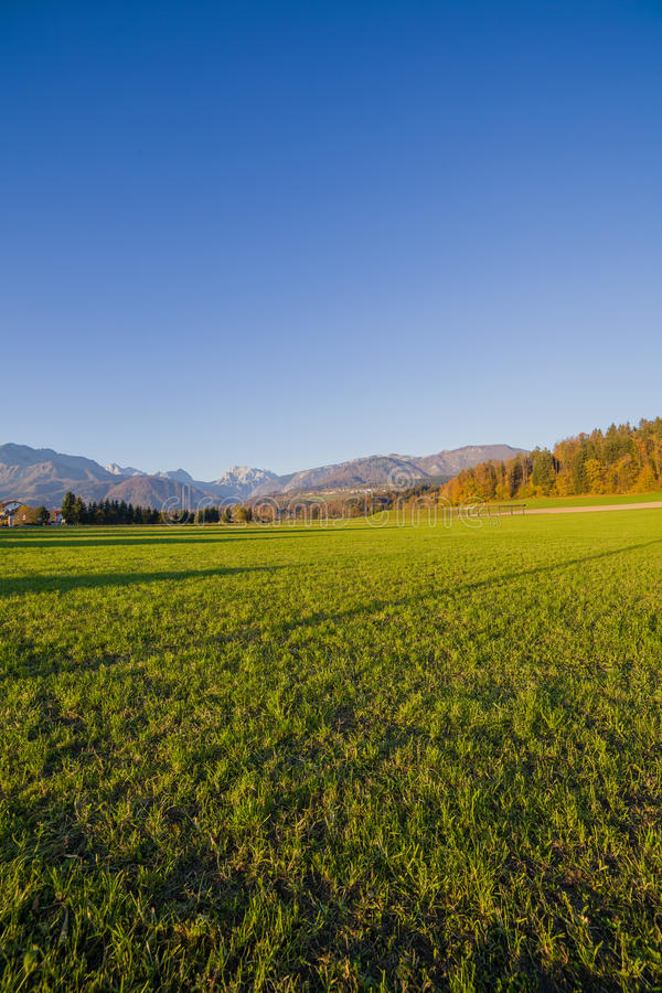 Wide angle Slovenian alps. Lawn under Slovenian alps portrait royalty free stock images