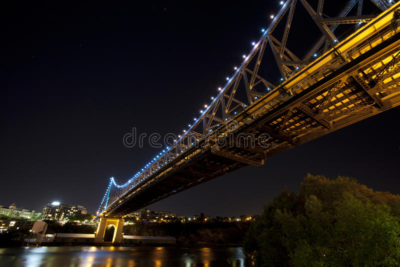 Wide angle under Story Bridge and Brisbane City stock photo