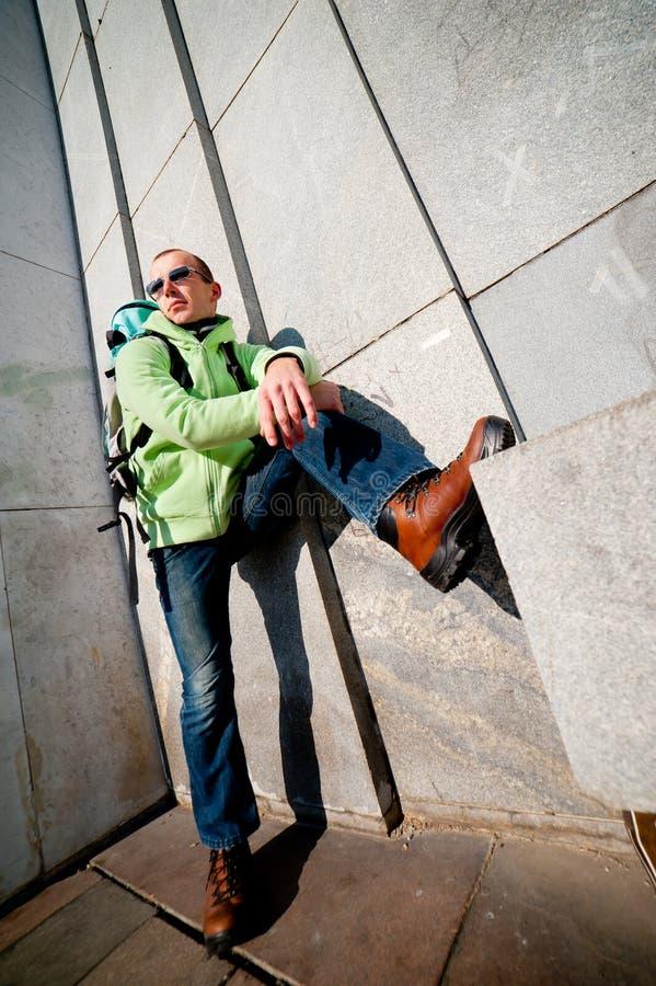 Wide angle urban portrait of a stylish man stock photo