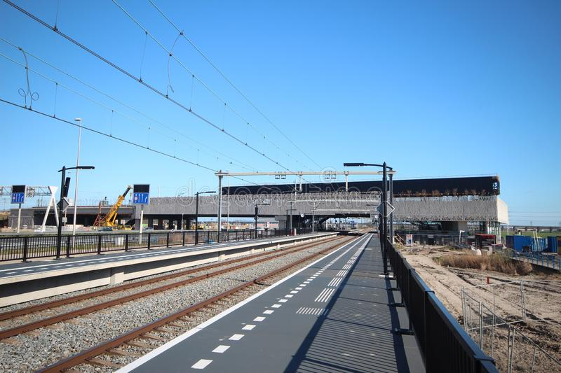 Wide angle view of the brand new train station Lansingerland-Zoetermeer in the Netherlands. stock photo
