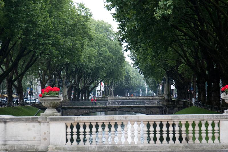 A wide angle view on the bridges and the allee of trees. Photographed during a sightseeing tour in düsseldorf germany with wide angle lens royalty free stock image