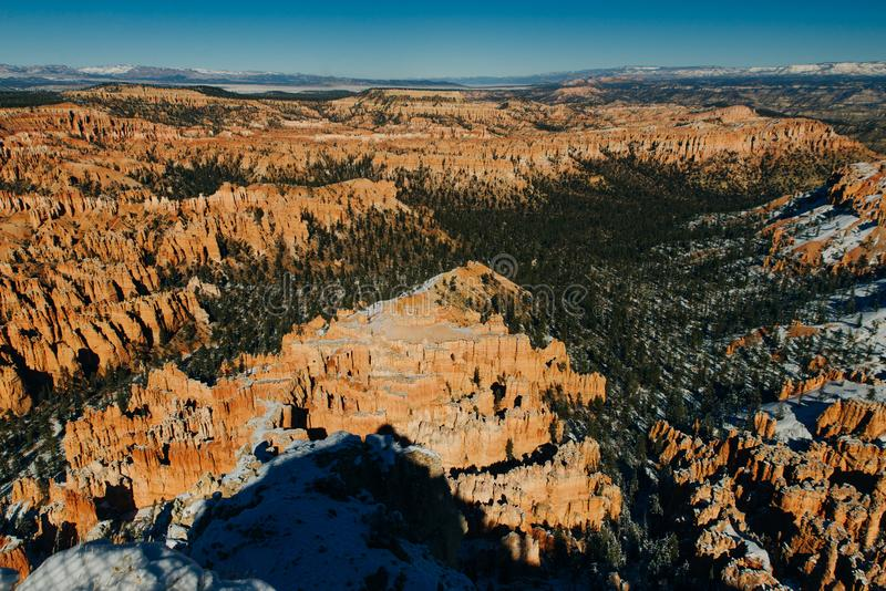 Wide angle view of Bryce Canyon National Park at Sunrise, Colorado, USA stock image