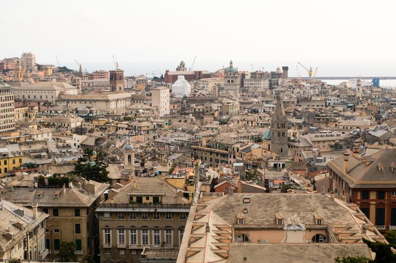 Wide angle view of Genoa city in summer royalty free stock photography