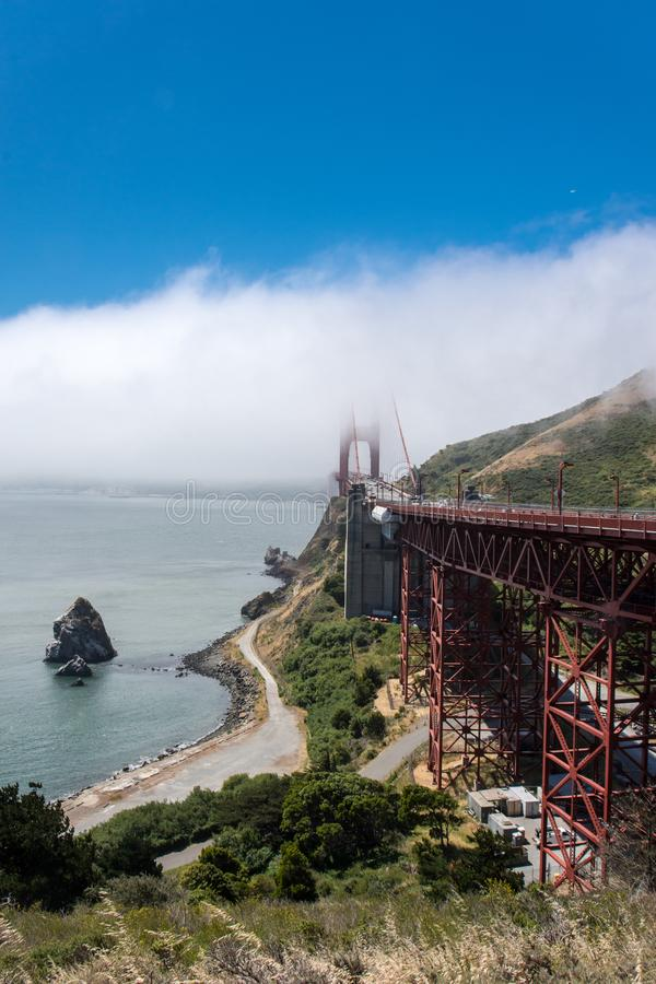Wide angle view of the Golden Gate Bridge in San Francisco as seen from the Marin Headlands stock images