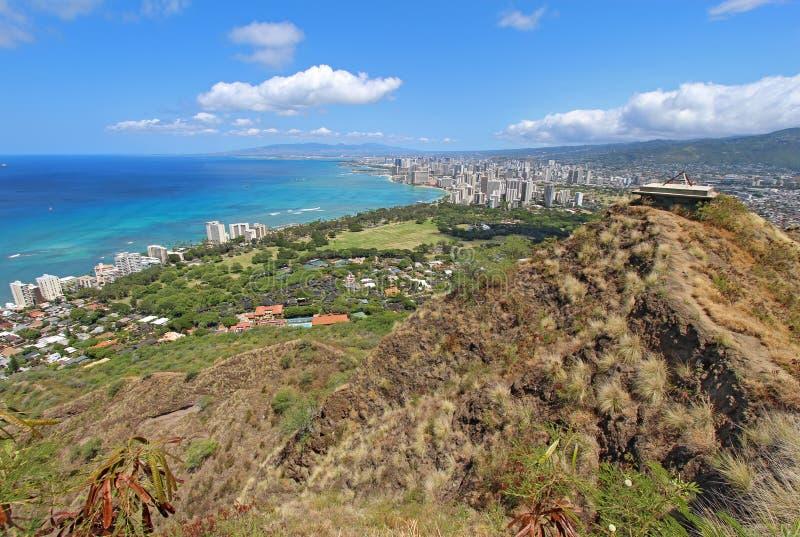 Wide-angle view of Honolulu, Hawaii royalty free stock photo