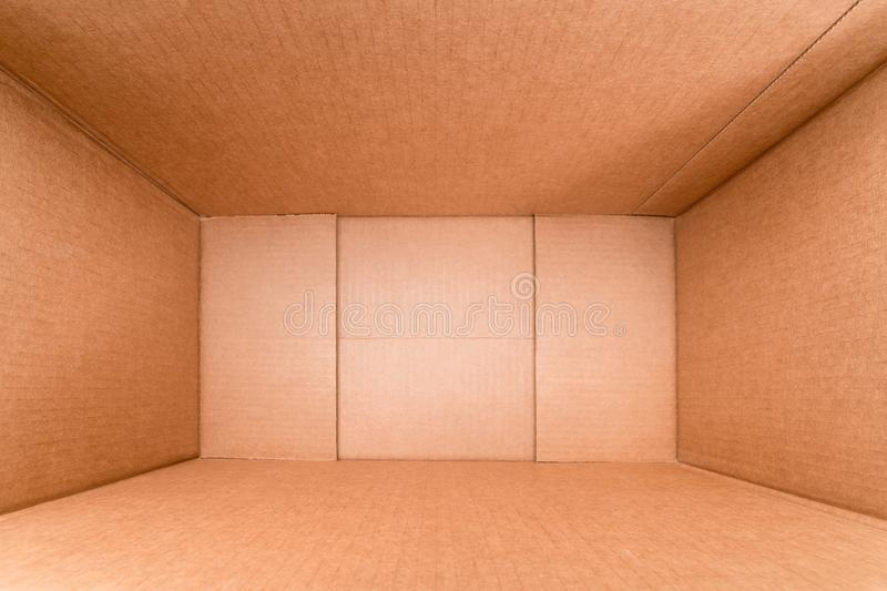 Wide angle view inside cardboard box royalty free stock photos