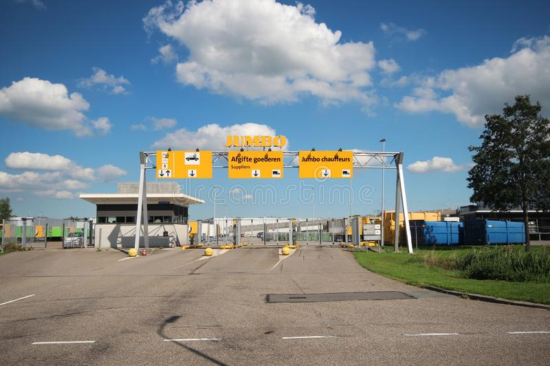 Wide angle view of the Jumbo retail warehouse and distribution center in Woerden, The Netherlands stock images