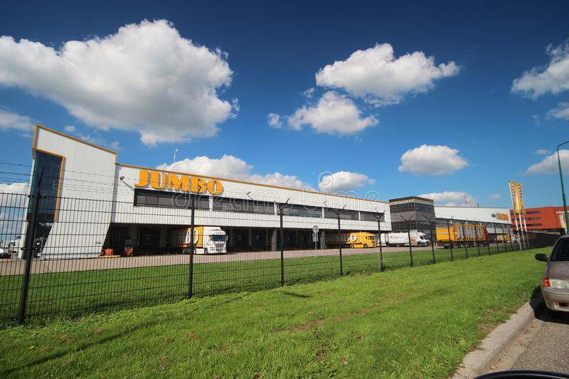 Wide angle view of the Jumbo retail warehouse and distribution center in Woerden royalty free stock photography