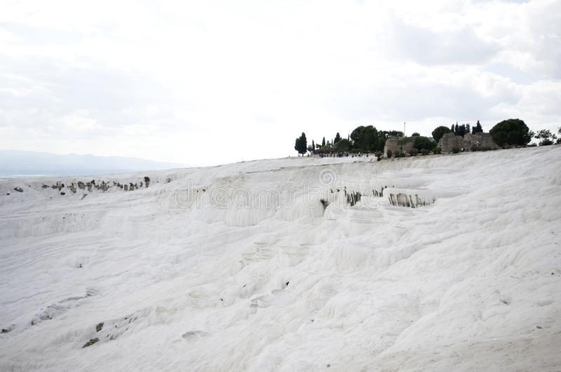 Wide angle view of Pamukkale Cotton Castle, Denizli / Turkey. Pamukkale Cotton Castle is a landscape made up of mineral forests, petrified waterfalls and a stock photography