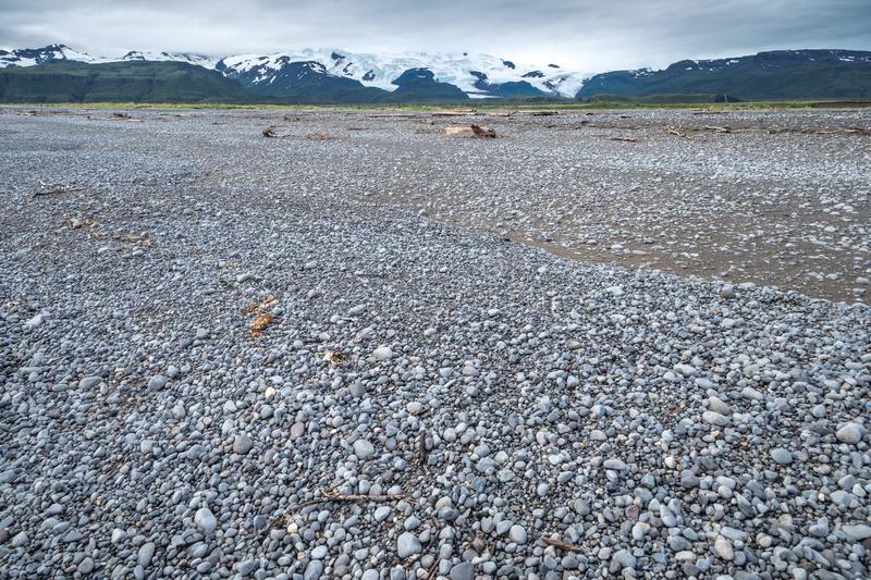 Wide angle view of the rocky beach at Katmai National Park stock photos