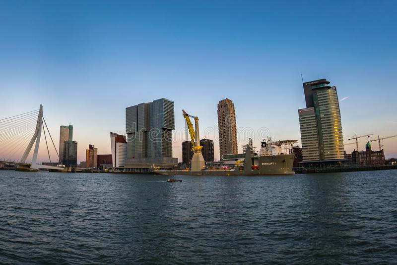 Erasmus bridge and skyline of the south part of Rotterdam, The Netherlands on a clear day. royalty free stock photography