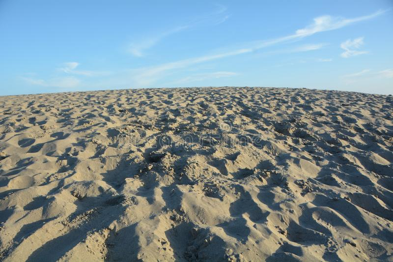 Wide-angle view of sand dune at Pacific City, Oregon Coast royalty free stock photography
