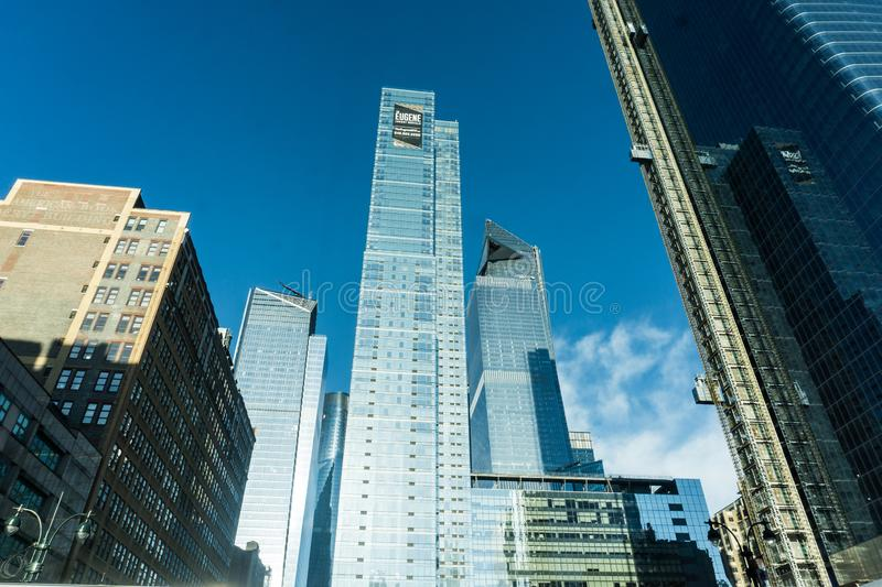 A landscape view of redevelopment of Hudson Yards in New York City. Wide Angle view of several skyscrapers being built for the Hudson Yards Redevelopment stock photo