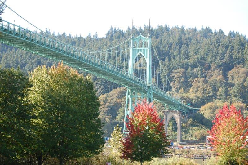 Wide-Angle View, St. John`s Bridge, Portland, Oregon stock photo