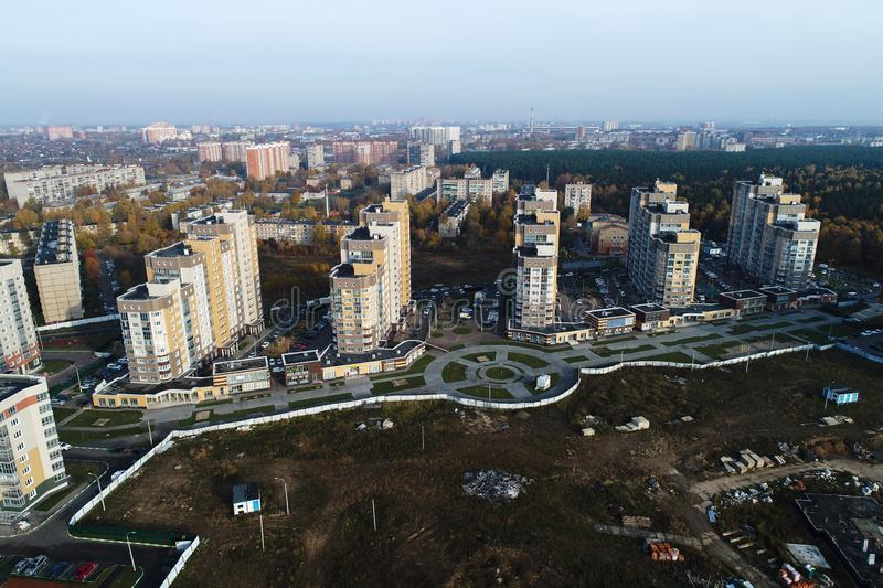Wide angle view of urban real estate `Borodino`. Beautiful landscape view from birds sight royalty free stock image