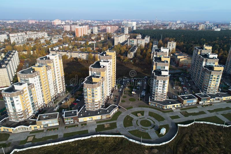Wide angle view of urban real estate `Borodino` royalty free stock photos