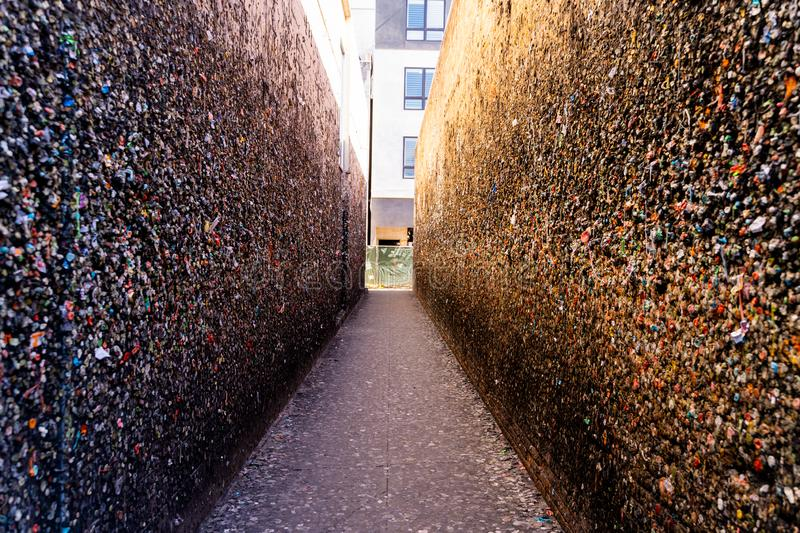 Wide angle view of the walls of Bubblegum Alley at San Luis Obispo, USA California royalty free stock photos
