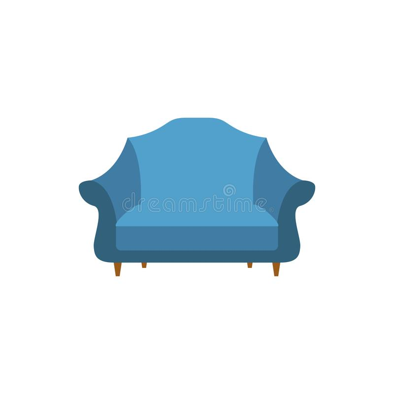 wide armchair flat icon. Interior or Room design template in flat style for mobile concept and web apps. Detailed wide armchair fl royalty free illustration