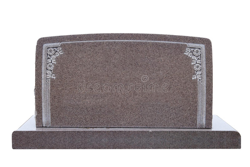 Wide, blank tombstone isolated on white