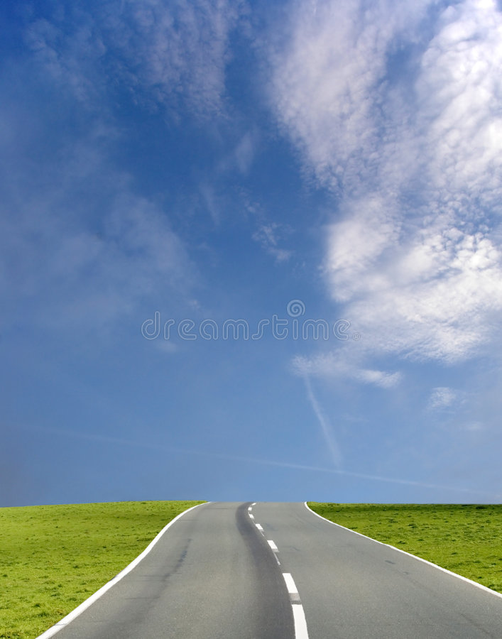 Wide blue sky road stock photo