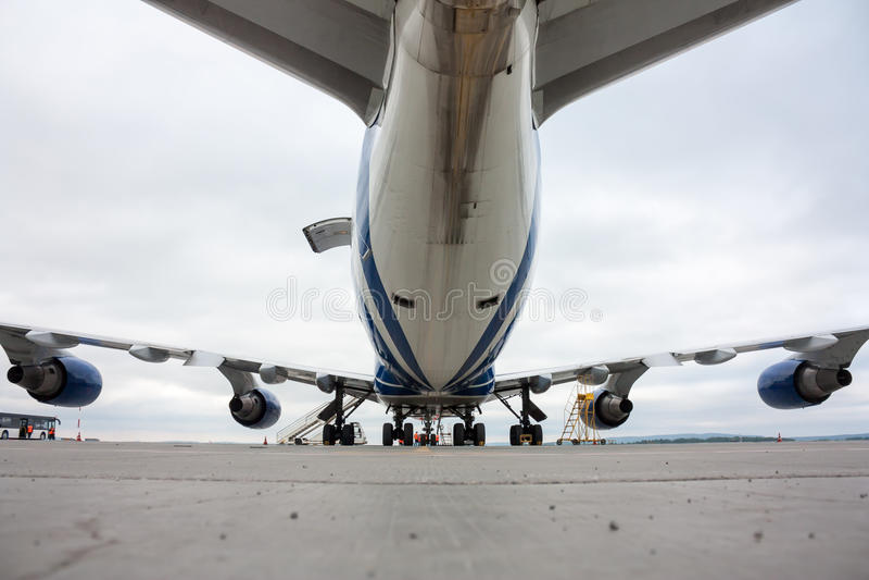 Wide body cargo airplane stock photo