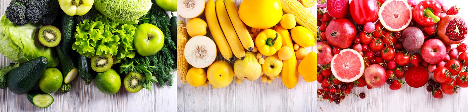 Green, yellow and red vegetables and fruits. Wide border green, yellow and red vegetables and fruits royalty free stock image