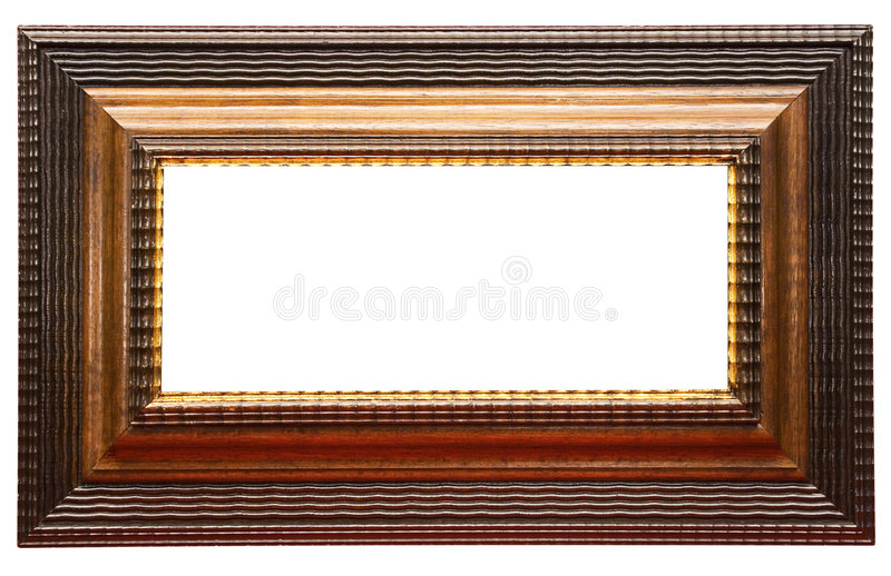Wide Brown Picture Frame w/ Path. A wide and massive wooden picture frame to put your photos in. File contains clipping path royalty free stock images