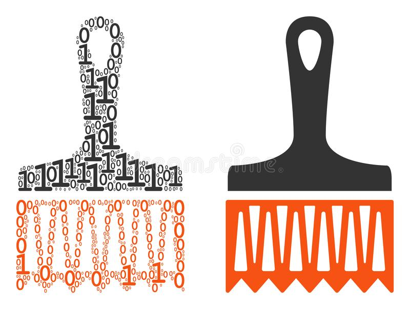 Wide Brush Composition of Binary Digits vector illustration