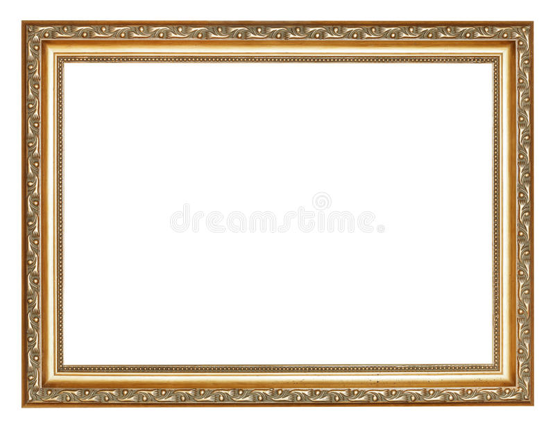 Wide carved ancient gold wooden picture frame stock image
