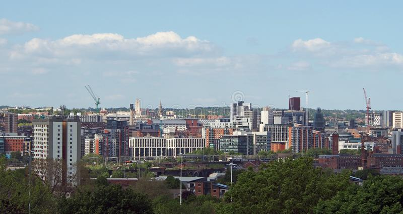 a wide cityscape view of leeds city centre taken from above showing office and apartment buildings the city hall and university stock photo
