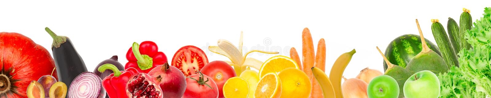 Wide collage of fresh fruits and vegetables for layout isolated on white background. Copy space. Wide collage of fresh fruits and vegetables for layout isolated vector illustration