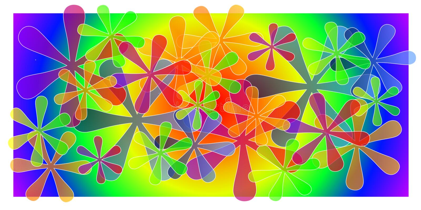 Wide Color Artistic Background. A wide background pattern featuring a rainbow of colors and star/flower shapes casually arranged royalty free illustration