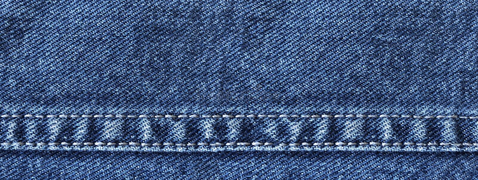 Wide denim banner with jeans decorative seams stock photos