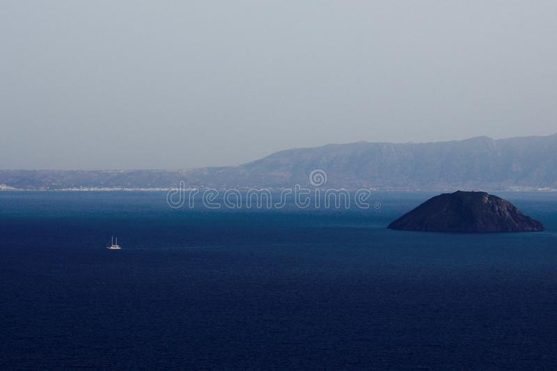 Wide distant shot of beautiful Greek islands royalty free stock image