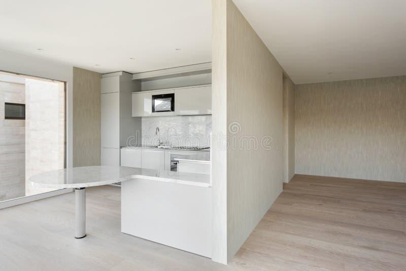 Wide domestic kitchen. Beautiful modern house, wide domestic kitchen royalty free stock image