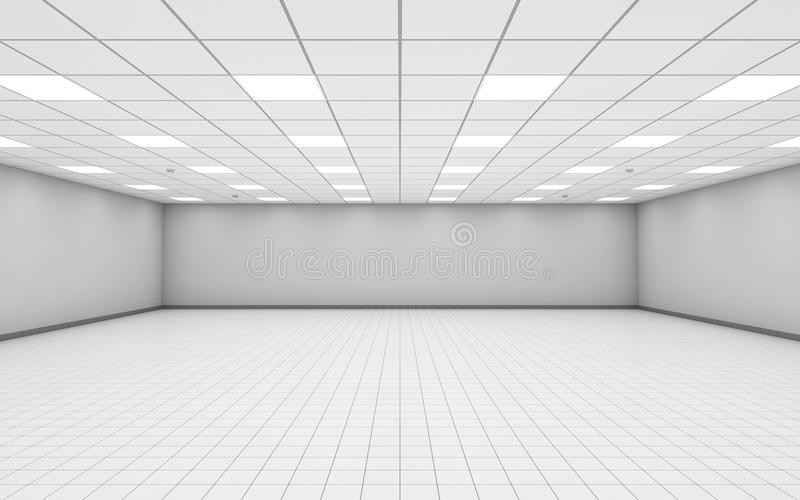 Wide empty office room interior with white walls 3 d royalty free illustration