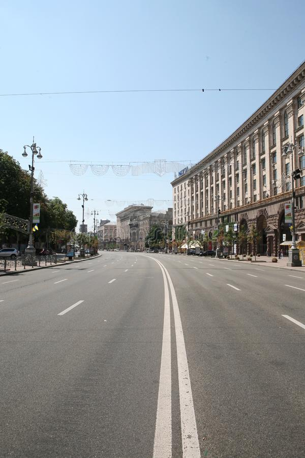 A wide, empty street in the city royalty free stock photos